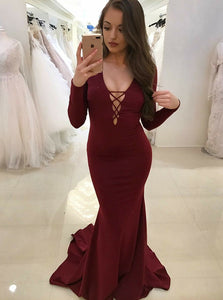 Burgundy Mermaid Deep V Neck Long Sleeves Open Back Prom Dresses Evening Dresses