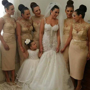 Sexy Gold Sweetheart Slim-Line Affordable Lace Bridesmaid Dresses Evening Dresses