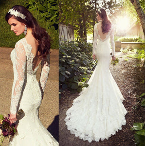Long Sleeves Wedding Gown Lace Wedding Gowns Elegant Princess Wedding Dress
