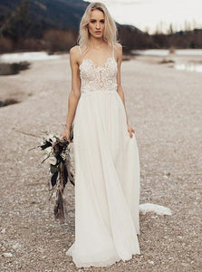 Ivory Spaghetti Strap Open Back Chiffon Wedding Dresses Bride Gowns