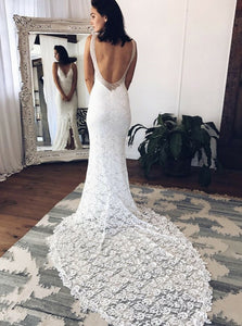 Mermaid Deep V Neck Sleeveless Open Back Wedding Dresses Bride Gowns - NICEOO