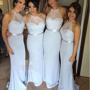 Elegant Light Blue Sweetheart Halter Slim Line Satin Bridesmaid Dresses Evening Dresses - NICEOO