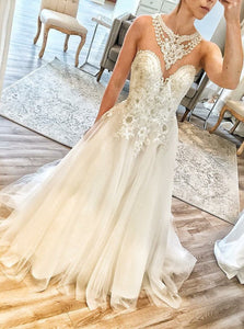 Unique A Line Sweetheart Sleeveless Wedding Dresses Bride Gowns With Appliques