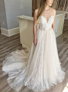 Simple Ivory Sweetheart Floor Length Wedding Dresses Bride Gowns