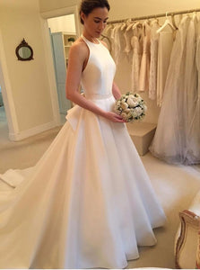 White A Line Halter Sleeveless Wedding Dresses Bride Gowns With Bow