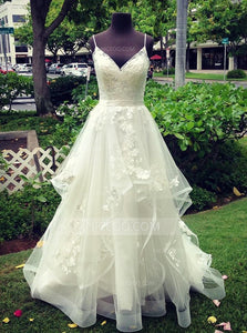 A Line Spaghetti Strap V Neck Organza Wedding Dresses Bride Gowns - NICEOO