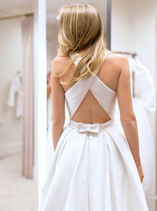 Simple Round Neck Sleeveless Backless Long Wedding Dresses Bride Gowns