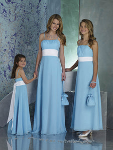 Simple Blue Spaghetti Strap Square Waist Empire Waist A Line Satin Bridesmaid Dresses Evening Dresses - NICEOO