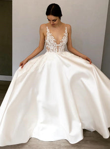 Pretty White A Line Deep V Neck Satin Wedding Dresses Bride Gowns - NICEOO