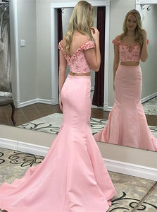 Pink Two Pieces Off Shoulder V Neck V Back Mermaid Homecoming Dresses Prom Dresses - NICEOO
