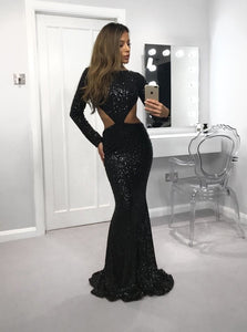 Black Round Neck Long Sleeves Cut Out Prom Dresses Evening Dresses With Sequin - NICEOO