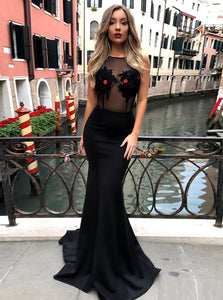 Black Mermaid Round Neck Sleeveless Prom Dresses Military Ball Dresses - NICEOO