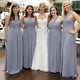 Elegant Gray Strapless A Line Empire Waist Long Chiffon Bridesmaid Dresses - NICEOO