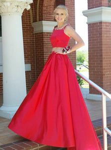 Two Pieces Spaghetti Strap Square Neck Prom Dresses,A Line Ball Gowns
