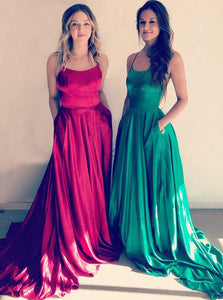 Simple Spaghetti Strap Side Split Prom Dresses,A Line Military Ball Dresses