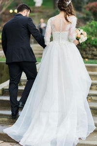 Elegant Three Quarter Sleeves Wedding Dresses with lace applique