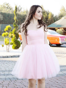 Light Pink A Line Sweetheart Tulle Homecoming Dresses Evening Dresses - NICEOO