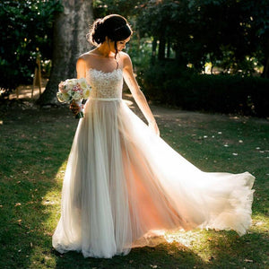 Dreamy Round Neck Open Back Wedding Dresses Bride Gowns - NICEOO