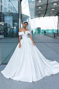 2019 Fashion White Satin Wedding Dress with Off shoulder