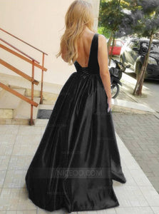 Black Strap V Neck Open Back Satin Prom Dresses Military Ball Dresses - NICEOO