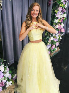 Yellow Two Pieces Sleeveless Homecoming Dresses, Round Neck Prom Dresses