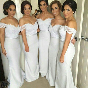Simple White Off Shoulder Sweetheart Slim-Line Jersey Bridesmaid Dresses Evening Dresses