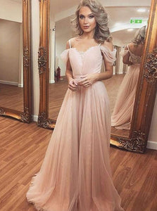 Pink Off Shoulder Spaghetti Strap Prom Dresses, Tulle Homecoming Dresses