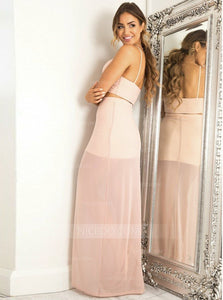 Light Pink Two Pieces Spaghetti Strap V Neck Homecoming Dresses,Side Split Prom Dresses - NICEOO