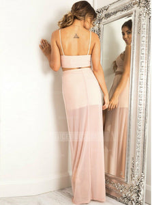 Light Pink Two Pieces Spaghetti Strap V Neck Homecoming Dresses,Side Split Prom Dresses