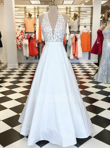 A Line Halter Deep V Neck Prom Dresses,Open Back Military Ball Dresses - NICEOO