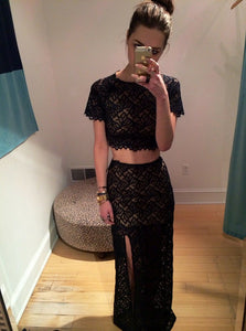 Black Two Pieces Round Neck Mermaid Dresses,Short Sleeves Side Split Prom Dresses - NICEOO