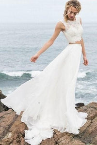 Charming Two Piece Lace Sleeveless Wedding Dress