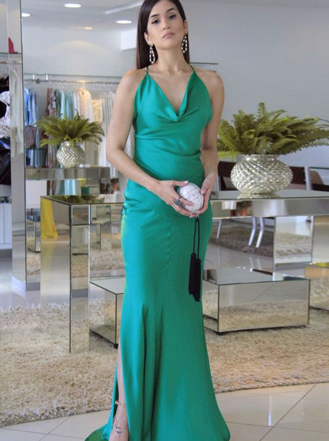 2bf69e06904a5 Green Slim Line Spaghetti Strap Prom Dresses, Side Split Backless Evening  Dresses