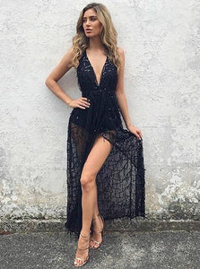 Sexy Black Deep V Neck Sleeveless Prom Dresses,Front Split Evening Dresses - NICEOO