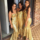 Sexy Gold Sweetheart Slim Line Long Sequin Bridesmaid Dresses Evening Dresses - NICEOO