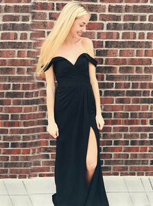 Black Off Shoulder Sweetheart Side Split Prom Dresses, Chiffon Evening Dresses - NICEOO