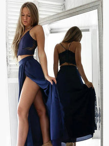 Navy Blue Two Pieces Spaghetti Strap Prom Dresses,Side Split Homecoming Dresses - NICEOO