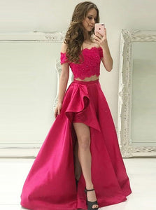 Two Pieces Off Shoulder High Low Prom Dresses,Satin Homecoming Dresses