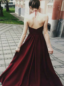 A Line Halter Open Back Homecoming Dresses,Satin Prom Dresses - NICEOO