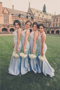 Light Blue V Neck Sleeveless Mermaid Bridesmaid Dresses - NICEOO