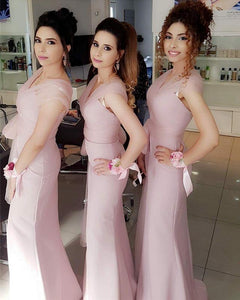 Light Pink Off Shoulder Long Mermaid Bridesmaid Dresses