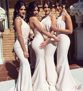 Mermaid Halter Open Back Satin Bridesmaid Dresses - NICEOO