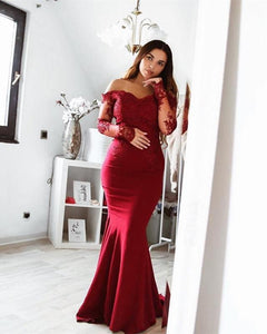 Burgundy Sweetheart Long Sleeves Mermaid Prom Dresses,Satin Military Ball Dresses - NICEOO