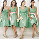 Simple Green Four Styles Sleeveless A Line Knee Length Empire Waist Satin Bridesmaid Dresses Evening Dresses