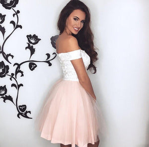 A Line Off Shoulder Sweetheart Tulle Homecoming Dresses Prom Dresses