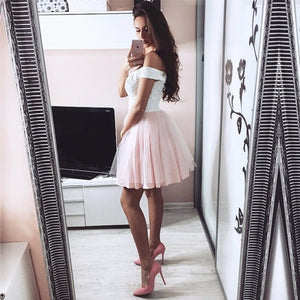A Line Off Shoulder Sweetheart Tulle Homecoming Dresses Prom Dresses - NICEOO