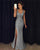 Gray V Neck Sleeveless Side Split Prom Dresses,Slim Line Military Ball Dresses