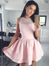 Light Pink Round Neck Sleeveless Mini Homecoming Dresses Evening Dresses