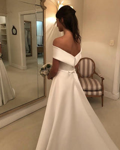 Simple White A Line Off Shoulder Wedding Dresses Bride Gown