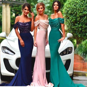 Sexy Navy Blue Off Shoulder Empire Waist Mermaid Satin Bridesmaid Dresses Long Evening Dresses